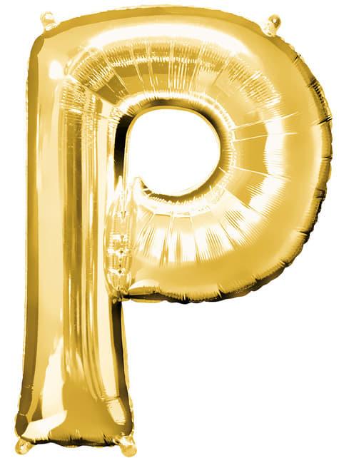 Globo letra P dorado (86 cm)