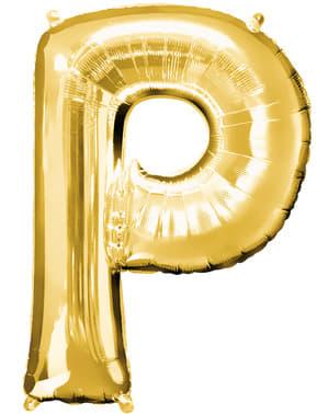 Balão letra P dourada (86 cm)