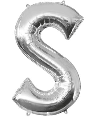Balon srebrny literka S (86 cm)
