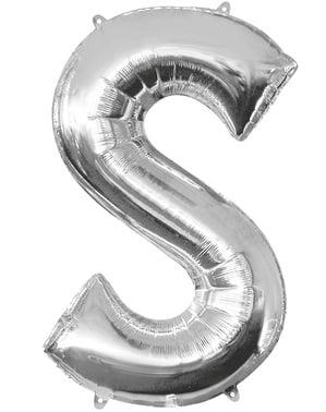 Hopeanvärinen kirjain S ilmapallo (86 cm)