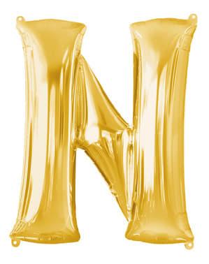 Balão letra N dourada (86 cm)