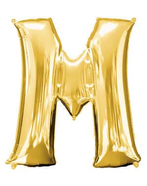 Balão letra M dourada (86 cm)