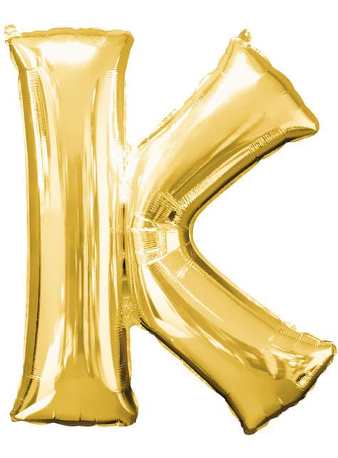 Globo letra K dorado (86 cm)