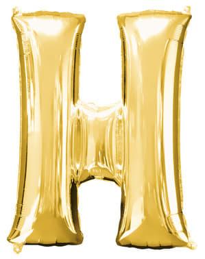 Globo letra H dorado (86 cm)
