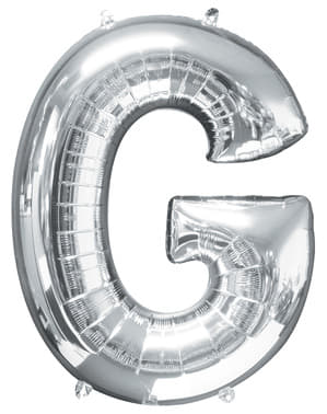 Balão letra G prateada (86 cm)