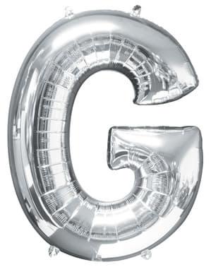 Hopeanvärinen kirjain G ilmapallo (86 cm)