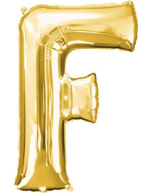 Balão letra F dourada (86 cm)