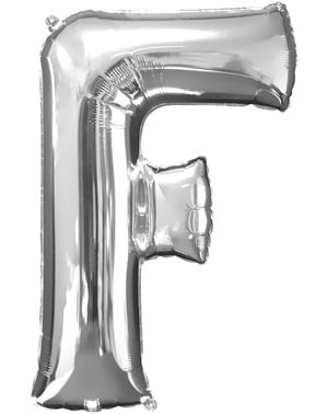 Silver Letter F Balloon