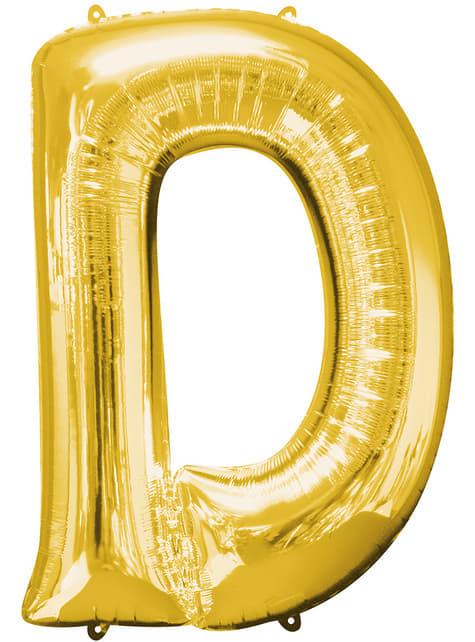 Balonek písmeno D zlatý