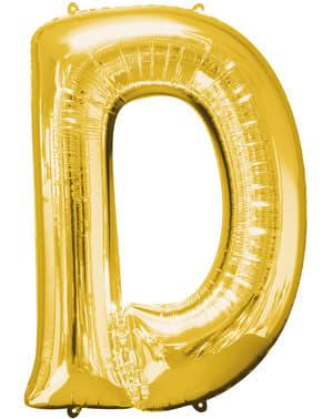 Globo letra D dorado