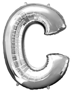 Hopeanvärinen kirjain C ilmapallo (86 cm)