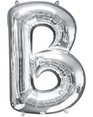 Hopeanvärinen kirjain B ilmapallo (86 cm)