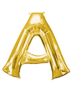 Balão letra A dourada (86 cm)