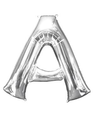 Hopeanvärinen kirjain A ilmapallo (86 cm)
