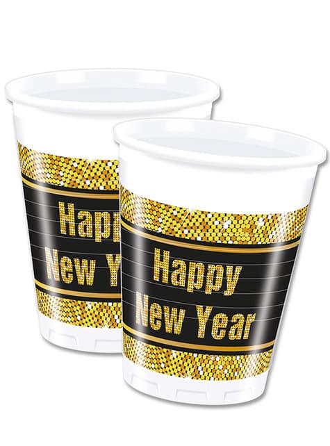 8 vasos para nochevieja Happy New Year