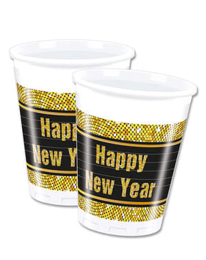 Set 8 bicchieri capodanno Happy New Year