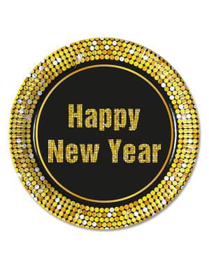 8 pratos Happy New Year (23 cm)
