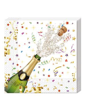 Set 20 tovaglioli capodanno Happy New Year (33x33 cm)