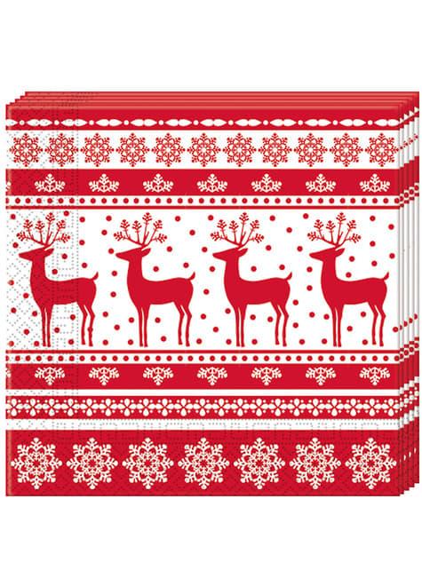 20 guardanapos com renas natalícias (33x33 cm)