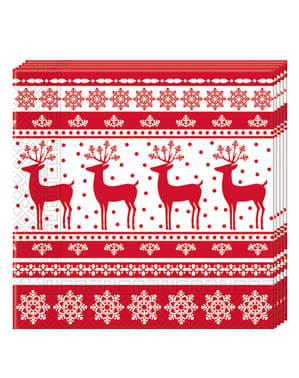 Sett med 20 Servietter med Julereinsdyr