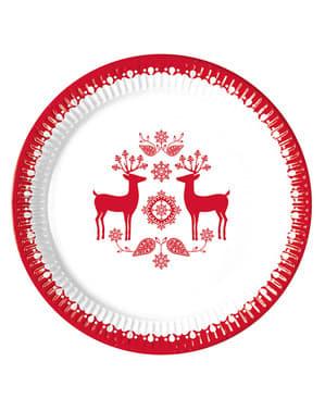 Set 8 piatti con renne natalizie (23 cm)