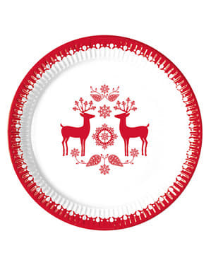8 tallerkner med rensdyr (23 cm)