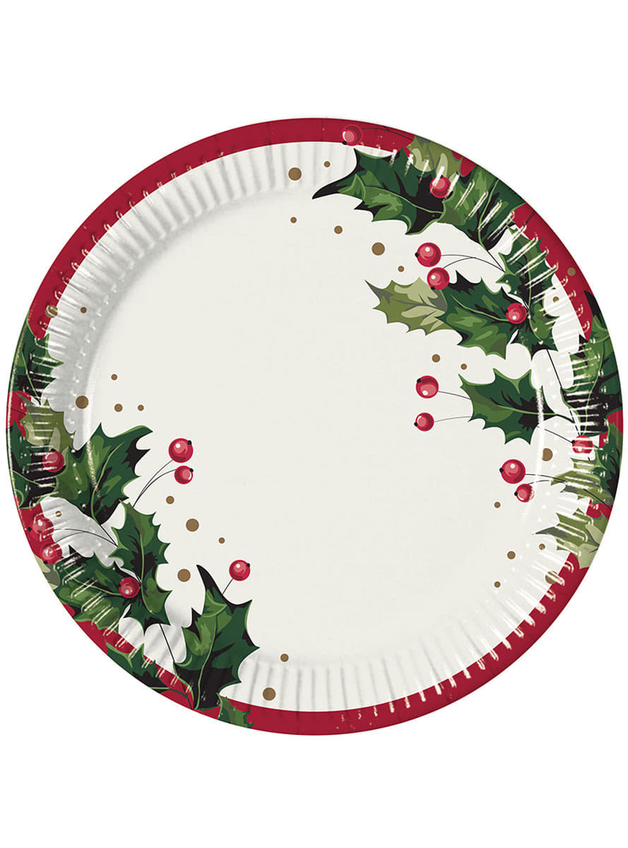 Set de 8 platos con acebo navide o para fiestas funidelia for Set de platos