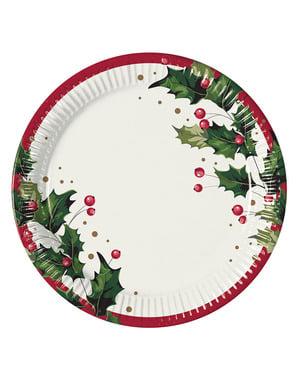 8 platos con acebo navideño (23 cm)