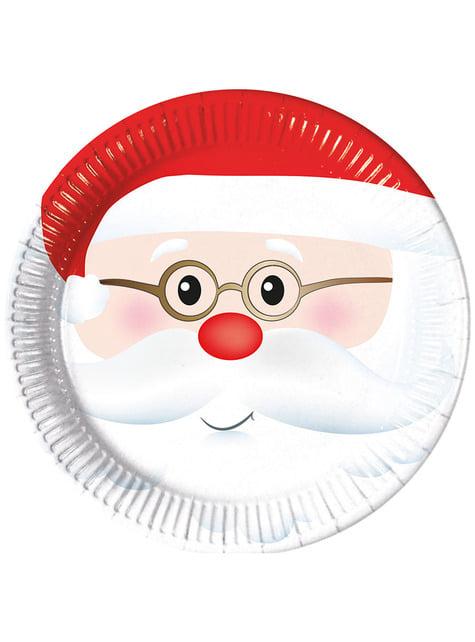 8 platos de Papá Noel adorable (23 cm)