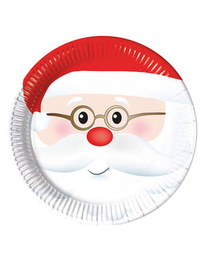 8 Adorable Father Christmas Plates (23 cm)