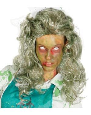 Peruca cinzenta de mulher zombie