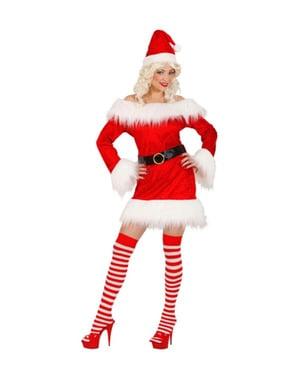 Weihnachtsfrau Kostüm aus Samt für Damen