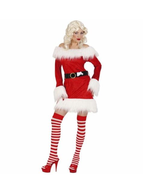 Fluwelen Mrs Claus kostuum voor vrouw