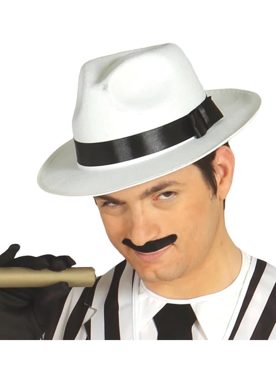 Sombrero de gángster blanco con cinta negra. Detalle  Zoom 36324fb1a48