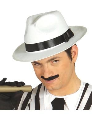 Chapéu de gangster branco com fita preta