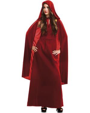 Fato de feiticeira vermelha para mulher