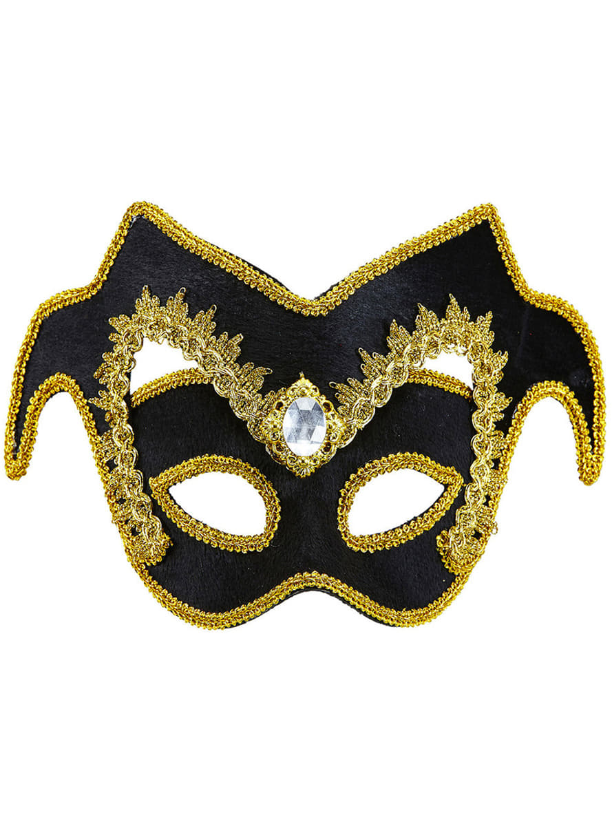 Adults Noble Venetian Masquerade Mask With Gemstone And Border