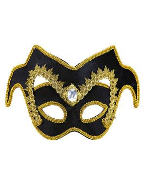ジェムストーンとボーダーの大人用高貴なベネチアン仮面舞踏会マスク