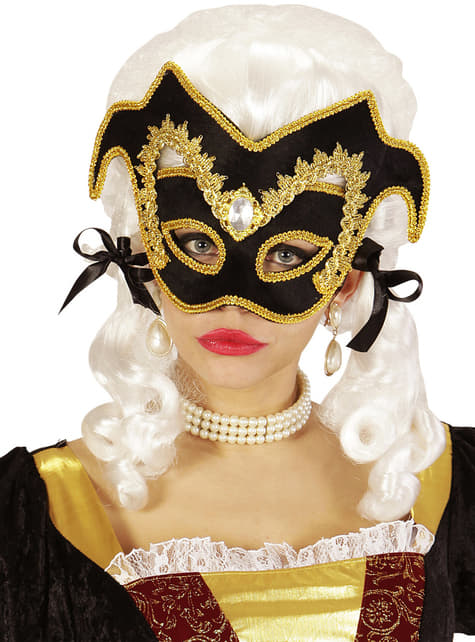 Adult's Noble Venetian Masquerade Mask with Gemstone and Border