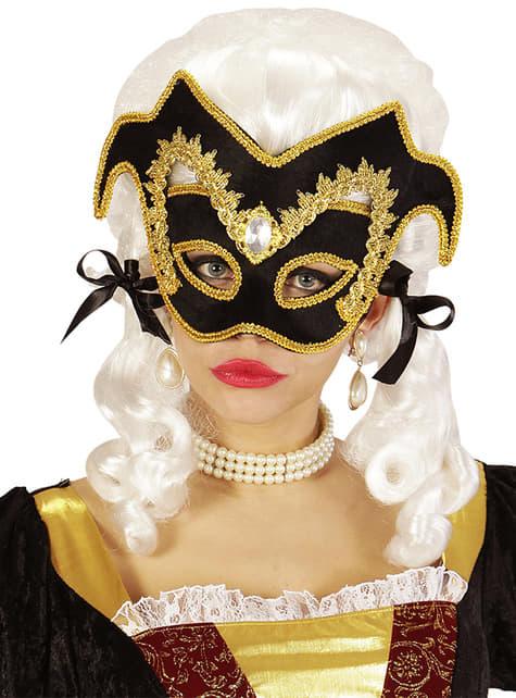 Benátská maska pro dospělé s kamínky a ozdobným lemem