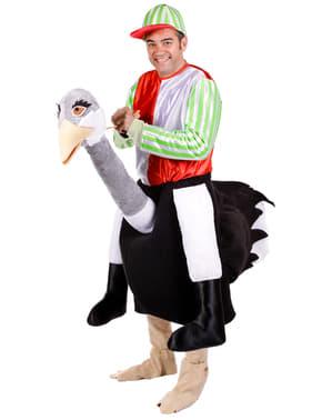 Vogelstrauß mit Jockey Kostüm