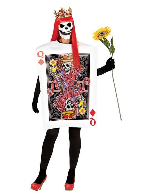 Disfraz de carta de reina de calaveras para mujer