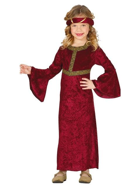 Piros középkori jelmez egy lány