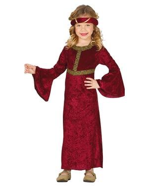 Fato de dama medieval vermelho para menina