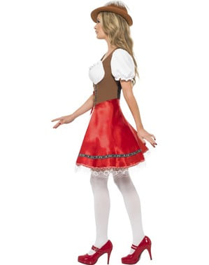 Sexy Dirndl Kostüm Rot Braun