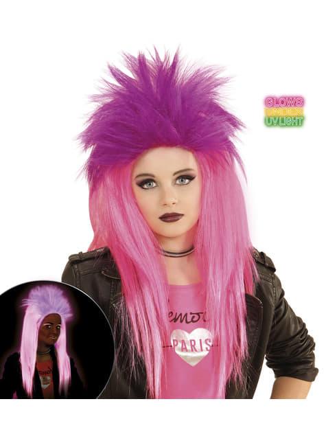 Peluca de punkarra rosa fluorescente para niña - para tu disfraz