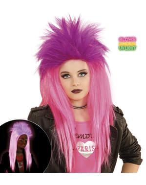 Fluorescerende roze punk pruik voor meisjes