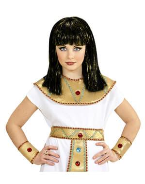 Tyttöjen Kleopatra peruukki metallisilla raidoilla