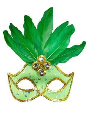 Grønn Venetisk Øyemaske med Paljetter og Fjær