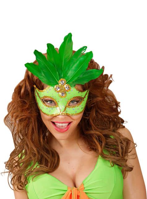Antifaz veneciano verde con lentejuelas y plumas - para tu disfraz